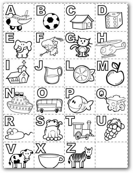Abecedario con dibujos para imprimir y colorear - Imagui | Alphabet ...