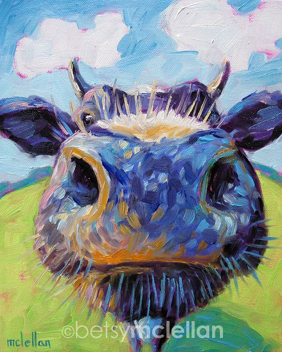 Cow  Cow Art  Cow Print  Giclee Print by betsymclellanstudio