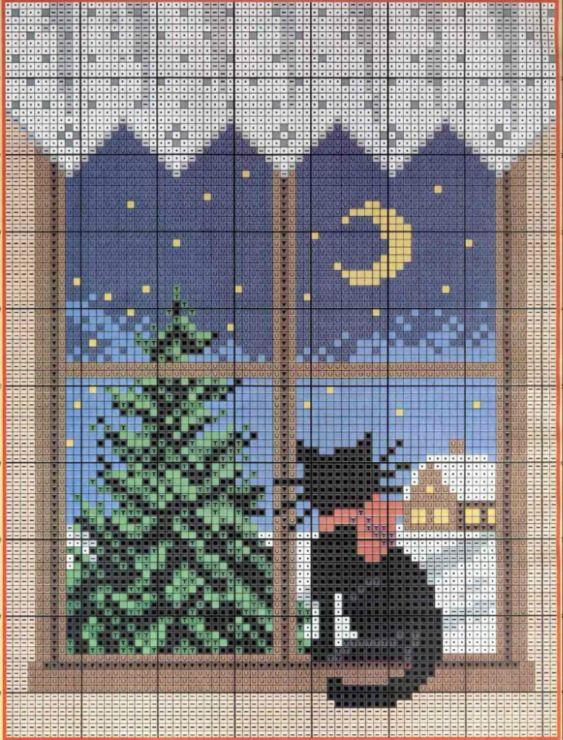 Kanaviçe pencere kedi mini tablo