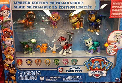 Paw Patrol Limited Edition Action Pack Pups Metallic Series with Play and Reset Figures....