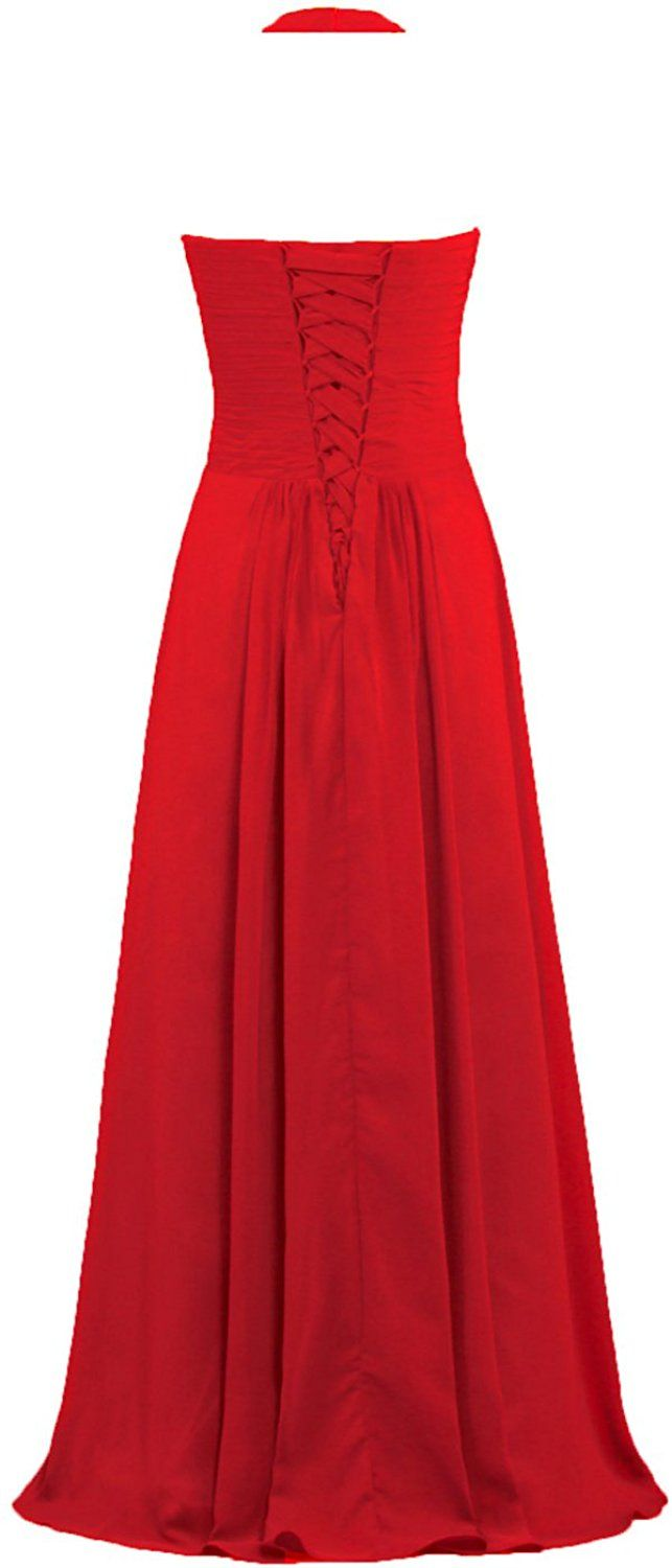 27aa0805538 ANTS Women s Chiffon Halter Bridesmaid Dresses Long Evening Gowns Size 22W  US Red at Amazon Women s