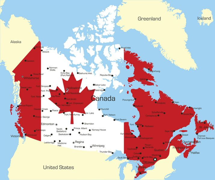 "Canadian Flag Map. ""Repinned by Keva xo""."