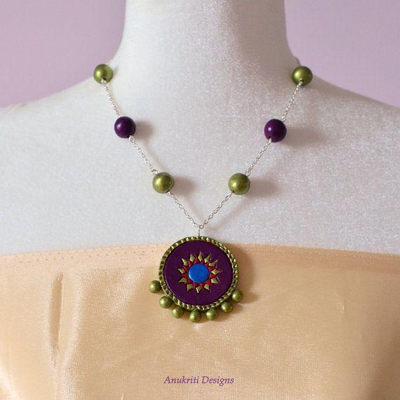 Polymer clay jewelry – Purple necklace – Terracotta Jewelry – Womens gift – Boho necklace -Bohemian jewelry – Indian jewelry -Ethnic jewelry