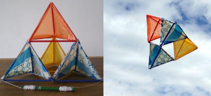 http://cartulina.es/cometa-tetraedrica-hecha-a-mano/ Cometa tetraedrica hecha con materiales de reciclaje