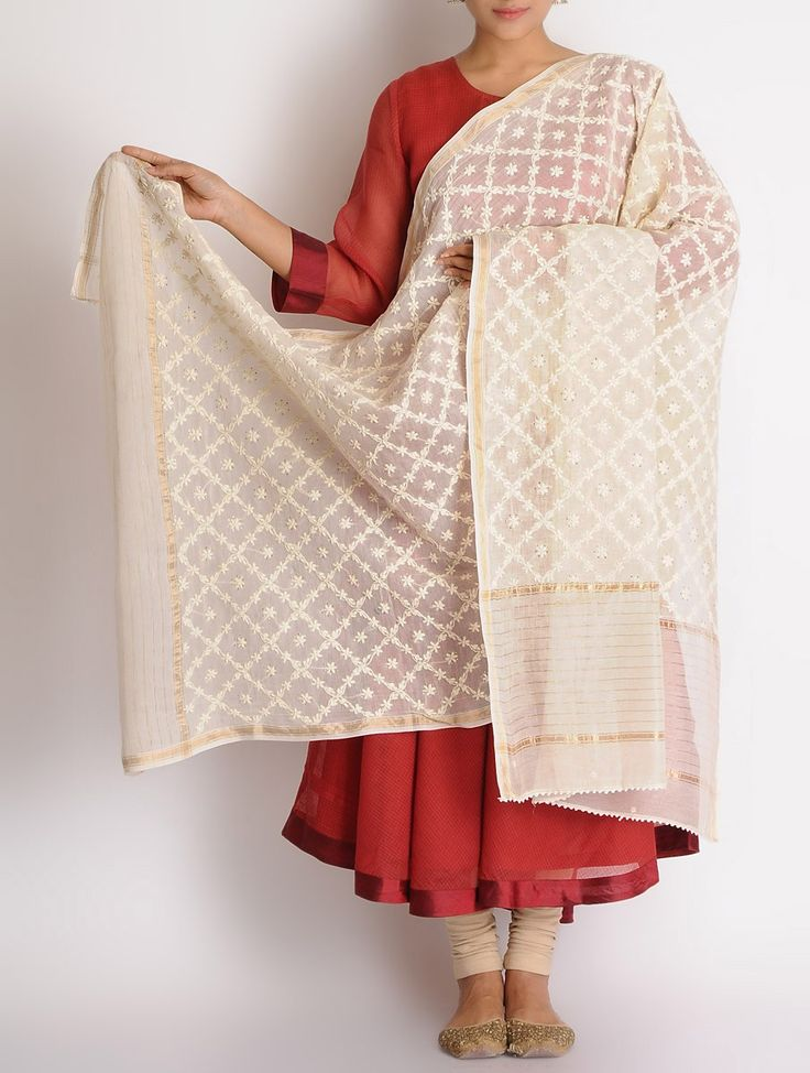 Buy Ivory Chanderi Zari Border Mukaish Chikankari Embroidered Dupatta Online at Jaypore.com