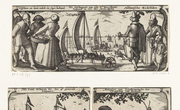 Vissers en landlieden, de zeilwagen en edelen in Holland, ca. 1600, Claes Jansz. Visscher (II), Pieter van der Keere, 1608 - 1610