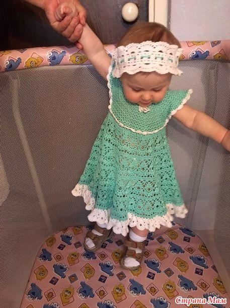 Решила связать своей внучке к лету платье. Ей летом годик будет.  У меня были Семеновские нитки 100/ х/б Лилия в 100г 392м. Крючок взяла номер 2.