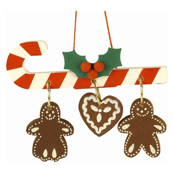 Christian Ulbricht Candy Cane with Hanging Gingerbread Cookies Ornament - 10-0438