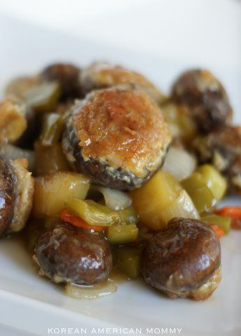 Recipe: Korean Sweet & Sour Shrimp Stuffed Portobello (버섯/새우 탕수육)