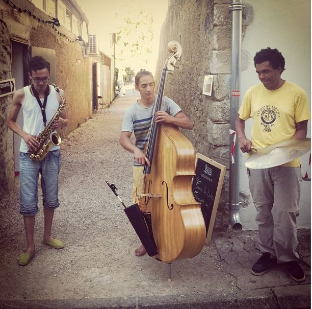 The wonderful street life during the Jazz in Marciac festival.