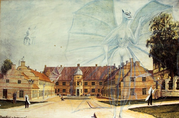 "From the radiolab blog: Butterflies in the Belfrey, by Latif Nasser ~ ""Brute Art"" the paintings of institutionalized mental patients in Aarhus, Denmark."