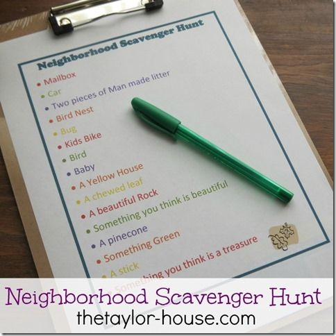 Neighborhood Scavenger Hunt.... Add another bit of fun to it for them by making it a photo scavenger hunt. They get to use a camera, iPod, etc.... to take photos of the items on the list instead of dragging it all home. Change up the list for hikes, trips downtown, farmer's market, sporting events, and on and on.