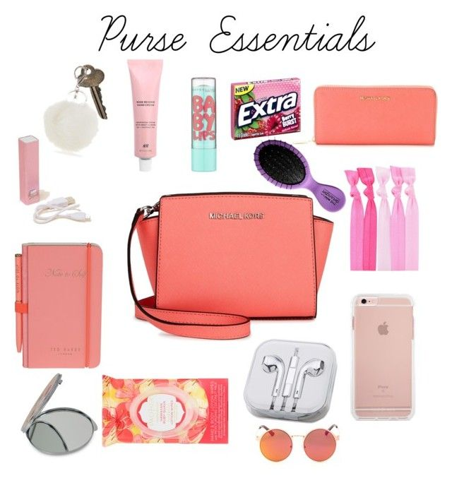 """Purse Essentials"" by layla-mcgovern ❤ liked on Polyvore featuring beauty, Michael Kors, MICHAEL Michael Kors, The Giving Keys, Maybelline, Popband, Wild & Wolf, PhunkeeTree, Pacifica and Betsey Johnson"