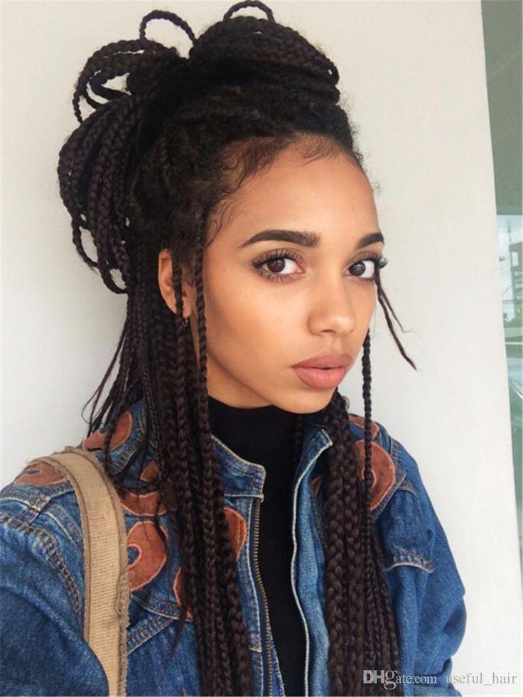 Epacket to brazil BOLETO brazilian hair wigs braided lace front wigs 22 3x box braids crochet braids black synthetic wigs for black women