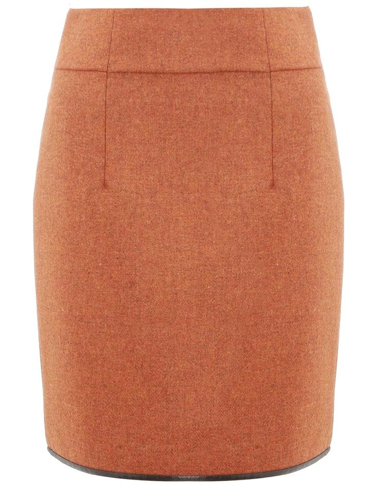 Orange Tweed Wool Skirt Commuun