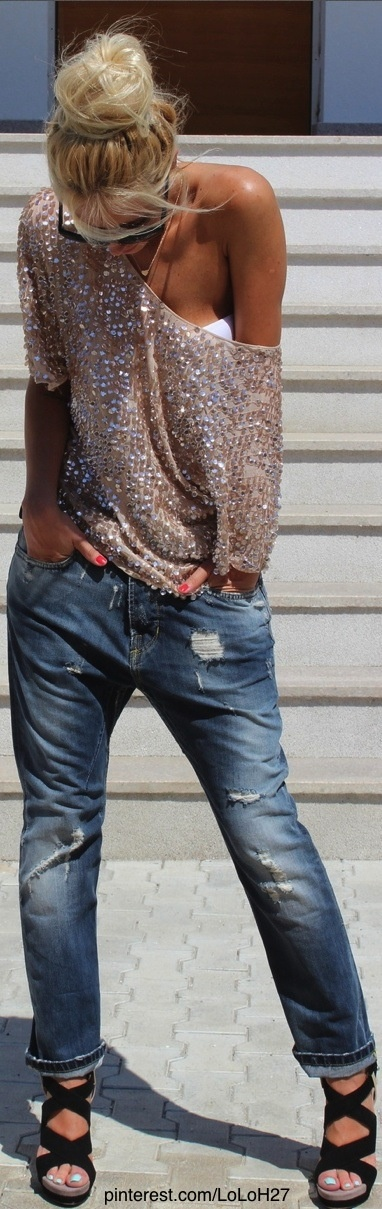 distressed boyfriend jean, sequin off-shoulder sweater, strappy sandals...LUV