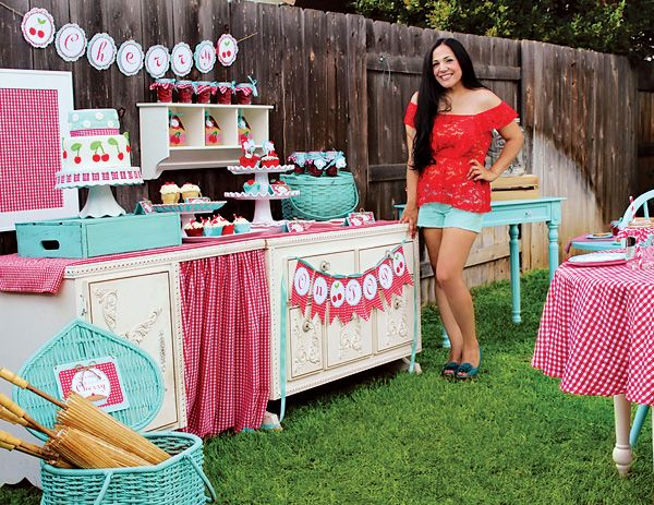 """Darling """"Cherry On Top"""" Party {Red Gingham & Teal} // Hostess with the Mostess®"""