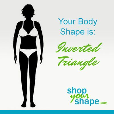Your body type is: InvertedTriangle    As an Inverted Triangle body type, you have a proportionally larger upper body. You have broad shoulders, and ample bust and a wide back. Your hips are slim and your bottom may have a tendency towards the flat side. Your waist is subtle and you have a t