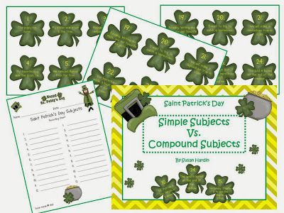 Shamrocks of Simple Subjects and Compound Subjects - pinned by @PediaStaff – Please Visit  ht.ly/63sNt for all our pediatric therapy pins