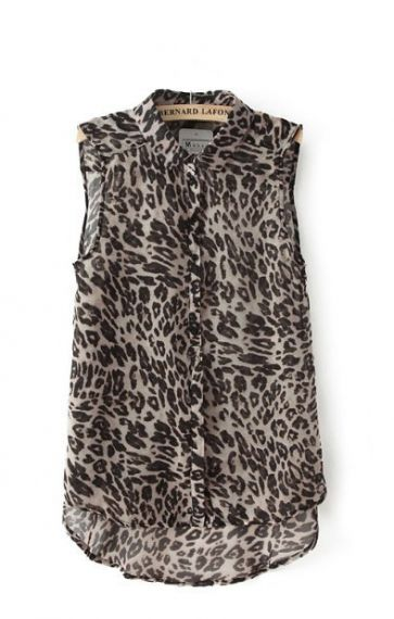 Leopard Printing Lapel Chiffon Sleeveless Blouse   6ks.com