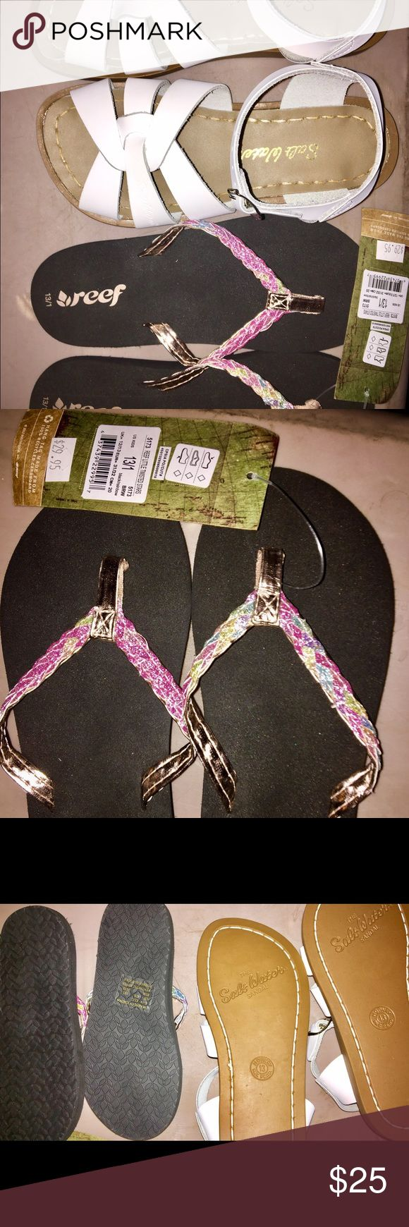 Girls Size 13/1 Sandals. 2 pairs Both pairs are Brand New. Girls size 13/1 Sandals. 'Reef' flip-flops are silver & pink Iridescent. Classic white 'Saltwater' Sandals. Reef  Shoes Sandals & Flip Flops