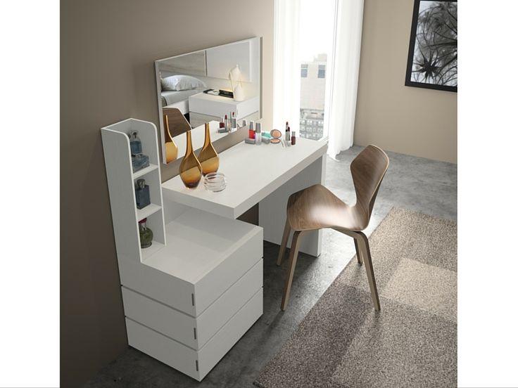 Conjunto Escritorio acabado en Blanco poro, con opción de espejo para convertirlo en una preciosa y original cómoda tocador