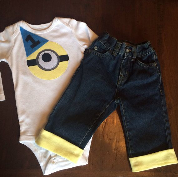 Minion Baby Boy Jeans and shirt Despicable Me, 1st First Birthday Baby Boy outfit Minion Boy Tshirt cuffed jean pant, Dispicable Me Birthday on Etsy, $41.95