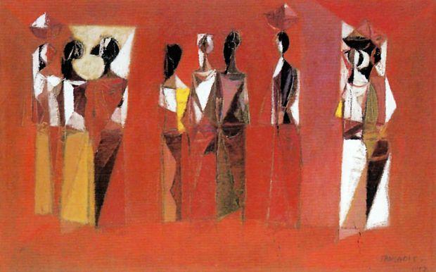 """srihadi soedarsono """"Wanita-wanita"""", 1957 - cat minyak, kanvas - 56x89cm"""