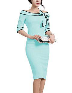 Kadın Dışarı Çıkma / Günlük/Sade / Çalışma Vintage / Sevimli / Sokak Şıklığı Kılıf Elbise Solid,½ Kol Uzunluğu Kayık Yaka Diz-boyu Mavi