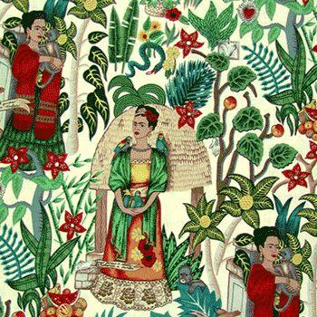 For my new valances over my desk.  Frida Kahlo, birds, monkeys, plants.