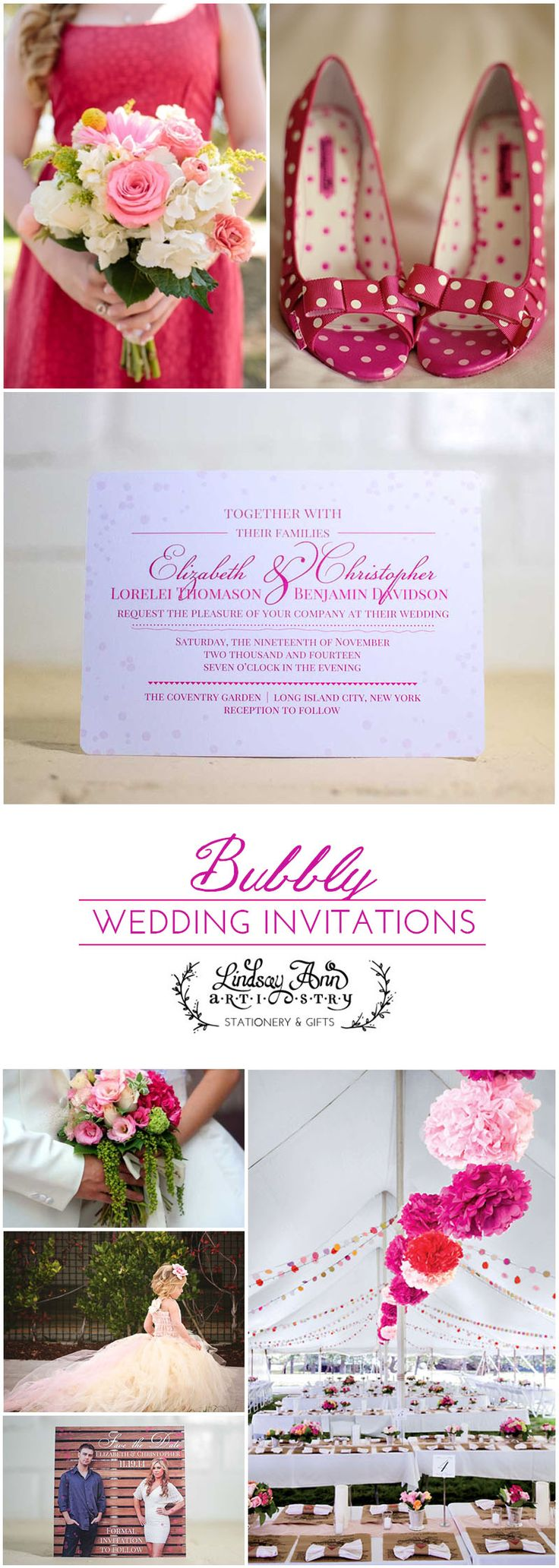 casual evening wedding invitation wording%0A Bubbly Wedding Invitation Suite  pinkwedding  champagne  airy  fresh   wedding  stationery