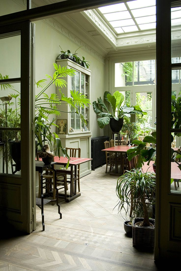 """plantsrooms: """"Located in a 19th century house in Antwerp, Belgium, Boulevard Leopold is between the Albert Park and the City Park; the owners, Bert Verschueren and Vincent Defontainers, say their aim in the interiors was to create a sense of..."""