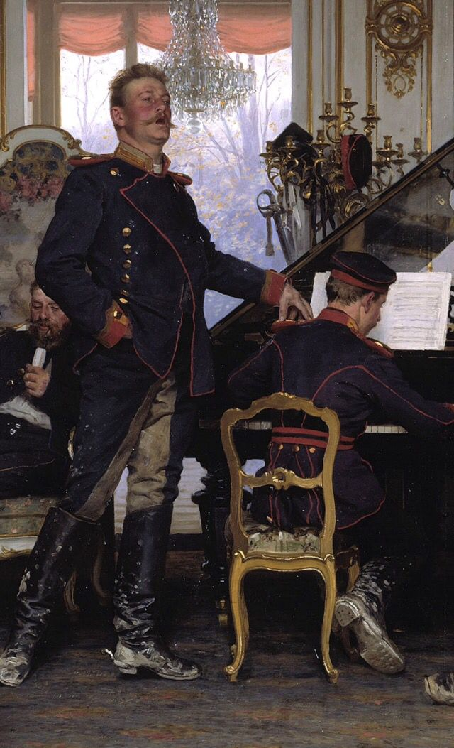Detail from Anton von Werner's 'A Billet Outside Paris, 1870'.