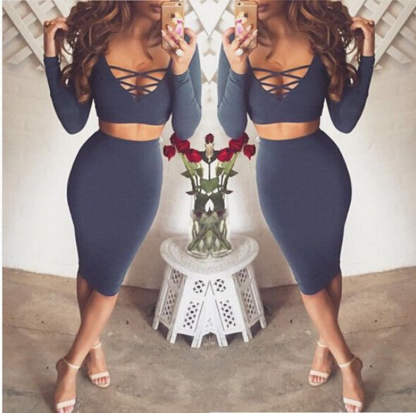 Women Two Piece V Neck Long Sleeve Autumn Sexy Club Bandage Bodycon Party Dress #New #StretchBodycon #Clubwear