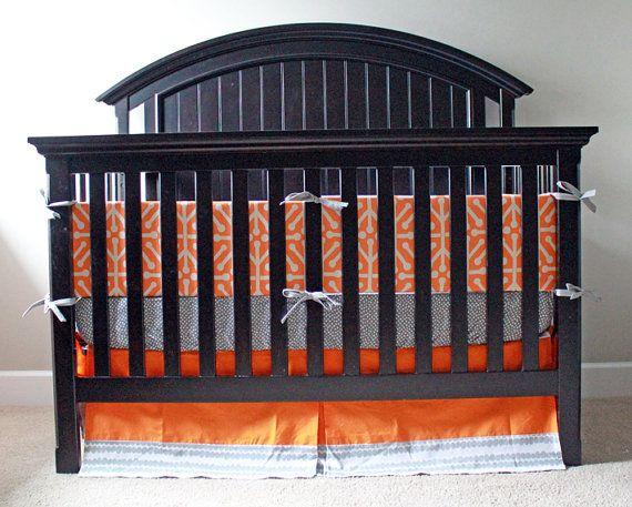 Custom baby bedding  Orange and Grey by GiggleSixBaby on Etsy, $293.00
