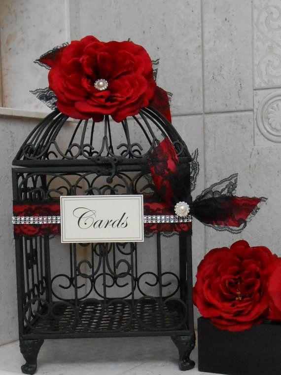 Red and Black Wedding Birdcage Card Holder / Wedding by ThoseDays