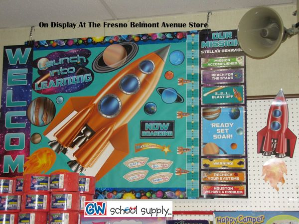 """This rocket bulletin board set can take you """"Out Of This World""""  call 1-800-234-1065 to order."""