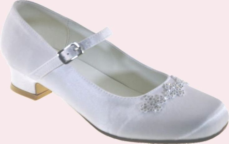 Girls White Satin Communion Shoes with Heel and Strap - Little People 5149 sizes 13 1 2 Girls Satin Communion shoes - First Communion Shoes for a