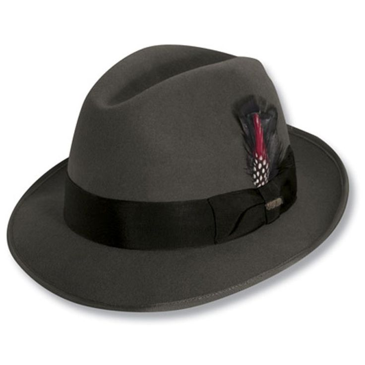 Scala Detroit - Wool Fedora Hat $48.00   Catch the express train to fashion town by sporting the Detroit, from the Classico Collection by Scala. This handsome fedora has a traditional design with wide ribbon hat band pulled together in a bow, The Detroit is then adorned with a feather and marked for quality with a Scala hat pin. The interior of the Detroit includes a satin lining and leather sweatband.