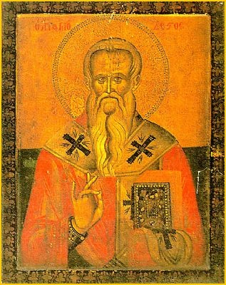 Orthodox icon of St Modestus, the Archbishop of Jerusalem, patron saint of dogs and dog owners...