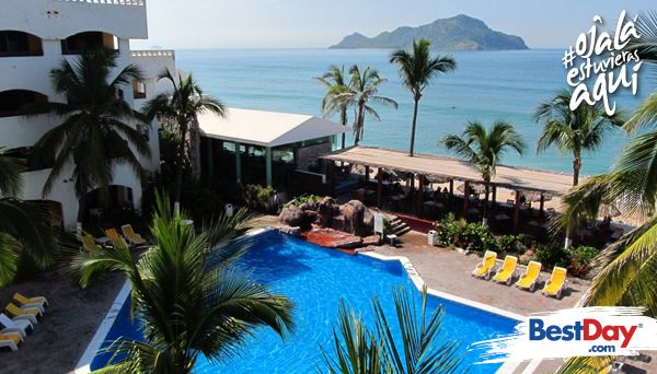 En la Zona Dorada, justo en una de las mejores playas en Mazatlán, en la Avenida Camarón Sábalo, se encuentra el hotel Quijote Inn, cerca del Acuario de Mazatlán. La propiedad cuenta con 101 habitaciones y suites con vista al mar o a la ciudad, además de que están equipadas con cocineta y balcones. Ofrece tres jacuzzis, vistas panorámicas, gastronomía internacional y excelente servicio al huésped. #OjalaEstuvierasAqui