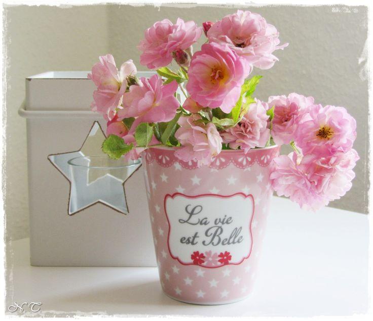 Blumen Landhausstil krasilnikoff mug la vie est rosa sterne blumen spruch