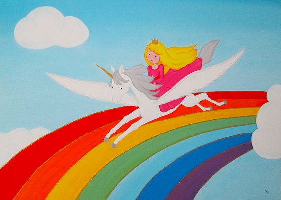 "Custom Acrylic Painting, Unicorn and princess flying over the rainbow, 31""x24""."