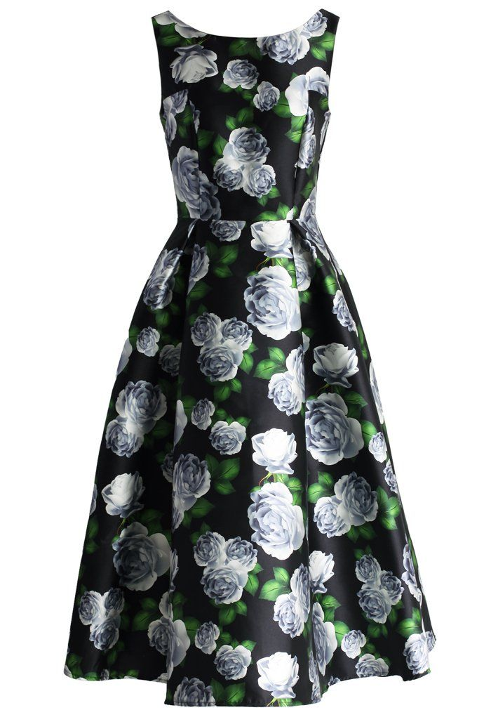 Divine Rose Print Prom Dress - Valetines - Trend and Style - Retro, Indie and Unique Fashion