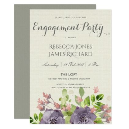 PURPLE PINK BLUE WATERCOLOR FLORAL ENGAGEMENT CARD - summer wedding diy marriage customize personalize couple idea individuel