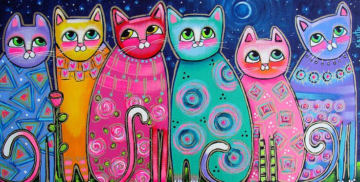 Colorful Cats In The Moonlight Fine Art Print