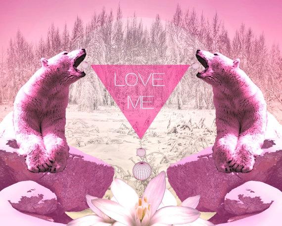 Geometric Print Bear Pink Cerise  Love Me By Sketchinc On Etsy,