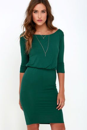 Chic Forest Green Dress - Jersey Knit Dress - Backless Dress | Lulus $38.00