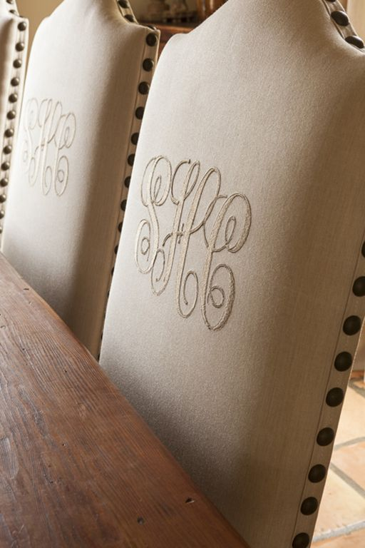 i love this look! plus i love me a monogram. I was thinking this would look amazing as the two end chairs!