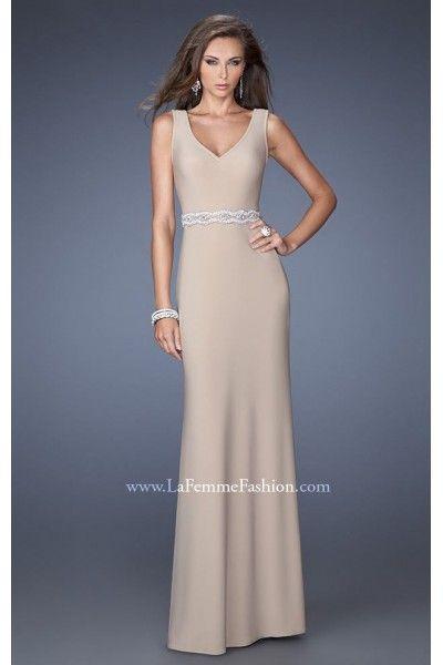 Prom Dresses Nude Low V Neckline by La Femme 19845